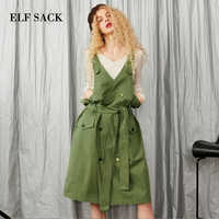 ELF SACK Autumn New Woman Dress Casual Straight Solid Sleeveless V-Neck Women Dresses Femme Vestido Streetwear Female Clothing