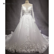 New Ball Gown Long Sleeve Lace Wedding Dresses 2018 with Buttons Back Formal Women Beaded Floral Bridal Gowns vestido de noiva