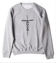 64b9169ad2ad Gesù croce Cristiana Felpa Manica Lunga Casual Grigio Abbigliamento  Magliette e camicette Slogan Gesù Graphic Lettera
