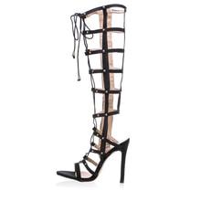 Knee High Gladiator Sandals Women High Heels Sandals for Women Fashion Women Sandals 2016 Back Zip Sandalias Mujer XWC0404-5