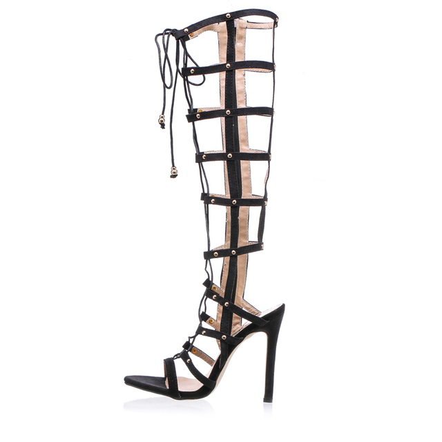 Knee High Gladiator Sandals Women High Heels Sandals for Women Fashion Women Sandals 2016 Back Zip Sandalias Mujer XWC0404-5