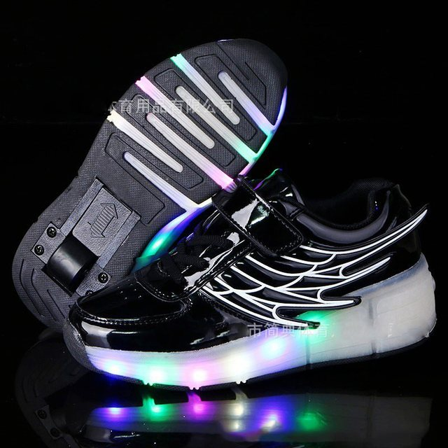 Kids Sneakes with Wheels New Kids Roller Skate Glowing Sneakers Children  Led Light Up Shoes for Boys Girls Black tenis infantil fdbac32b8704