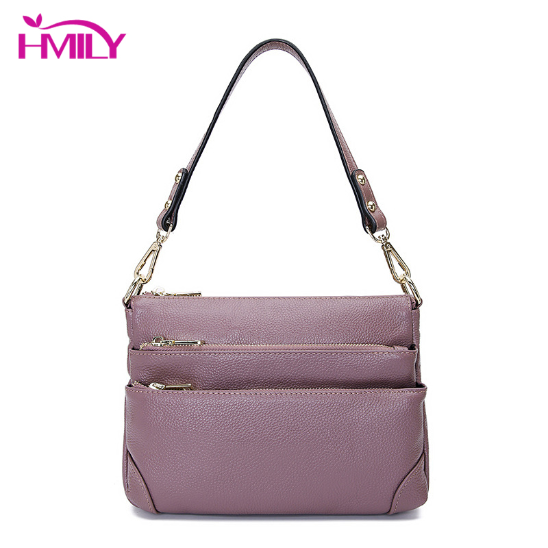 HMILY Women Mini Handbags Real Genuine Leather Messenger Bags Daily Mother Shopping Bags Cowskin Shoulder Bags