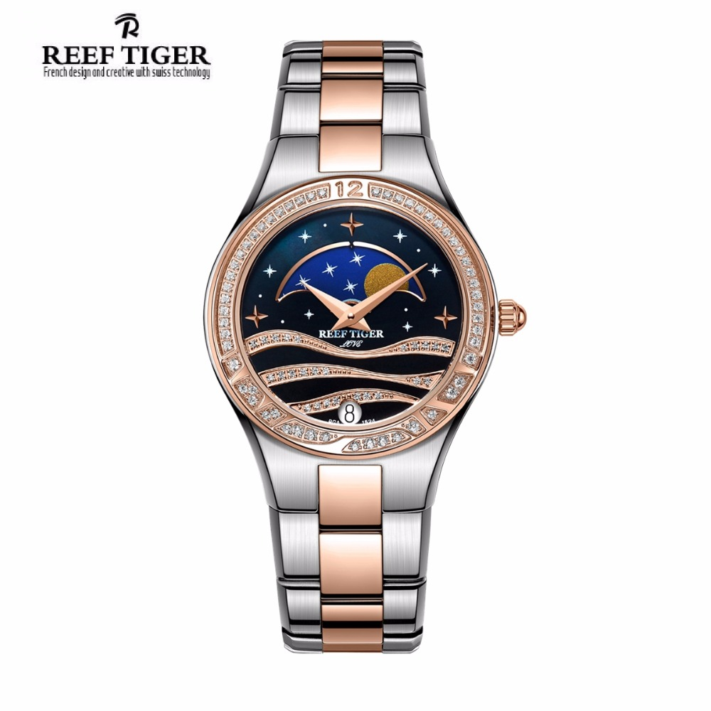 Reef Tiger/RT Luxury Women's Watches with Moon Phase Date Watch Diamonds Bezel Rose Gold Two Tone Wrist Watches RGA1524 top brand reef tiger rt watches luxury fashion ladies dress quartz black watch rose gold diamonds watch for women rga172
