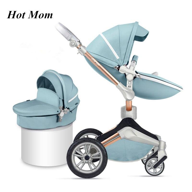 Hot Mom 2018 3 en 1 usine en ligne vente en cuir grandes roues bébé poussette 2 en 1