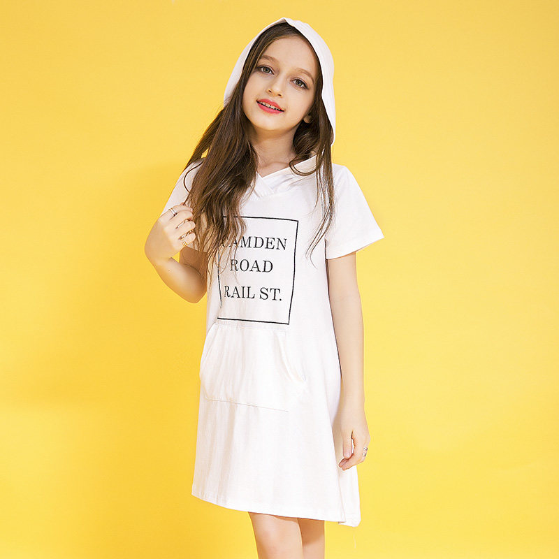 2016 Summer Girls Dresses Overalls Letter Print Pocket Dress With Hat Teens Clothing for Age 5