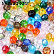 NASSBORO Flat Round Faceted Crystal Beads Wheel Glass Beads Diy Loose Spacer 4 6 8mm Bead for Jewelry Making Wholesale Czech