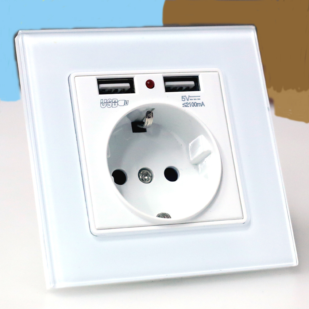 UE carregador de parede plug Power Tomada com saída usb, Vidro 2A Dual USB plugue Carregador de tomada de parede, 16A 2100ma Parede Tomada Elétrica