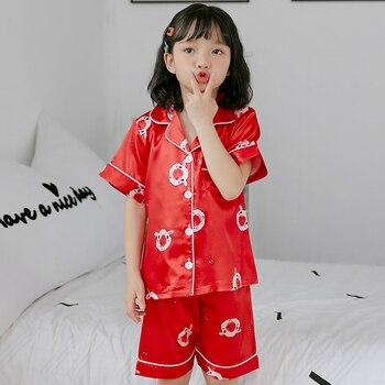 06c2fcf6c Los niños pijamas de seda de verano niños delgada fresca niñas de dibujos  animados casa ropa