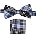 Tailor Smith Natural Silk Plaid Bowtie Pocket Square Set Fashion Classical Checked Bow Tie Hanky Mens Formal Suit Neckwear