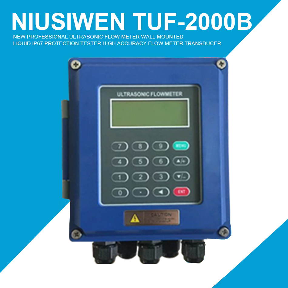 New Professional Ultrasonic Flow Meter Wall Mounted Liquid IP67 Protection Tester TUF-2000B High Accuracy Flow Meter Transducer