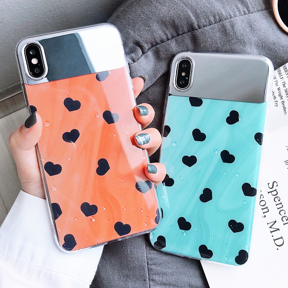 KIPX1126_7_JONSNOW Mirror Soft Case for iPhone 6S 7 8 Plus X XS XR XS Max Cover Cases Glossy Flower Heart Pattern Mirror Protector