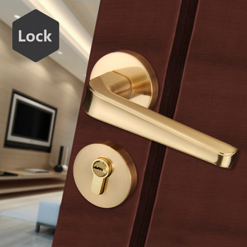 High Quality Gold Security Bedroom Door Lock Zinc Alloy European Mute Solid Personal Protection Home Lock For Living Room