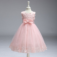 Retail Appliques Draped Sequined Flowers Girl Dresses With Ribbon Bow Elegant Lace Flower Bow First Communion