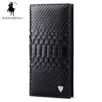 WILLIAMPOLO модные бизнес Человек Элитный бренд натуральным кожи питона кожаный бумажник на молнии для мужчин черный PL134