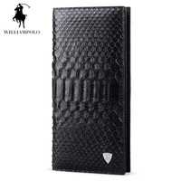 WILLIAMPOLO 2018 Fashion Business Man Luxury Brand Real Natural Python Skin Leather Zip Wallet Men Black POLO134