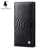 WILLIAMPOLO Fashion Business Man Luxury Brand Real Natural Python Skin Leather Zip Wallet Men Black PL134