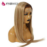 Fabwigs 150% Density Lemi Color Full Lace Wig Pre Plucked Balayage Ombre Lace Wigs T4/27/613 Brazilian Wig Remy Hair
