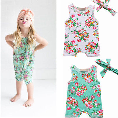 2017 Toddler Newborn Infant Baby Girl Summer Jumpsuit Flower Bodysuit +Headband Romper Outfit Children Kid Clothes Sunsuit 0-24M newborn infant baby girl clothes strap lace floral romper jumpsuit outfit summer cotton backless one pieces outfit baby onesie