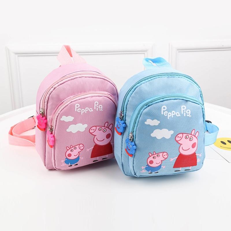 New Peppa Pig George Cartoon Plush Backpack Toys Dolls Kids Girls Boys Kawaii Kindergarten Bag Wallet Money Phone Bag School Bag