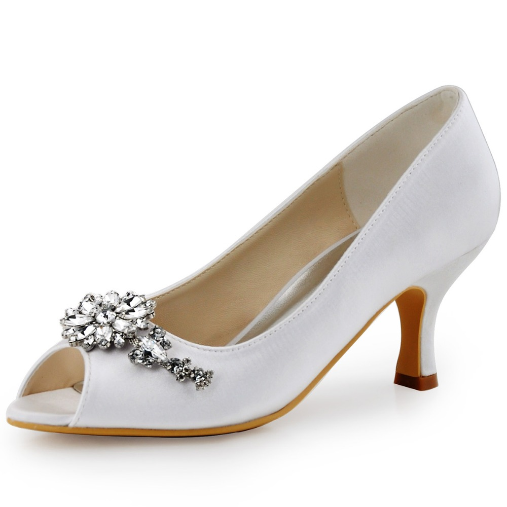 HP1541 Ivory White Women Wedding Shoes Bridesmaids Peep toe Bridal Party Pumps Low Heels Satin Lace Rhinestones Lady Bride Prom