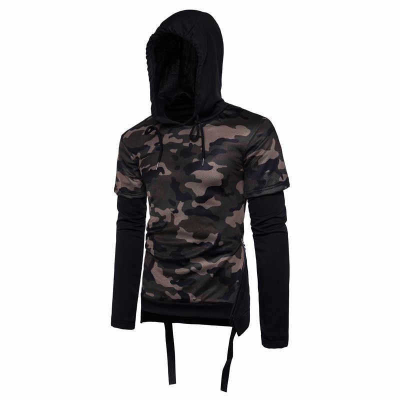 2017 nueva moda Camo Hoodie hombres Hip Hop estilo hombre camuflaje falso dos piezas sudaderas con capucha y sudaderas Streetwear S-XXL