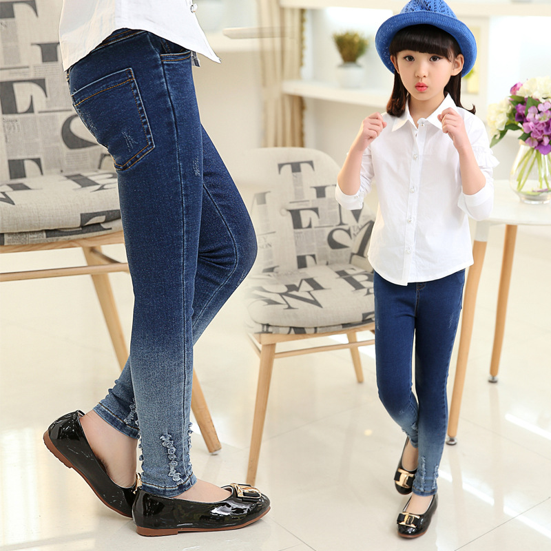 d02ed5c0f2b01 Girls leggings new 2019 autumn kids jeans gradient ultra girls elastic  skinny children pencil pants for 5 to 16 years trousers -in Jeans from  Mother & Kids ...