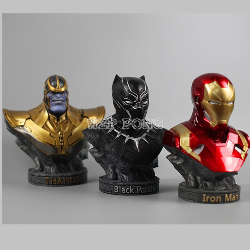 Resin Bust Black Panther iron Man Thanos Model Avengers 3 Collection Statue Black Panther iron Man Thanos Action Figure resin model universe captain america civil war black panther resin bust 1 2 statue wu570