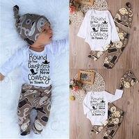 Newborn Infant Baby Girl Boy Clothes Set Romper Long Pants Hat 3pcs Cotton Casual Outfit Set