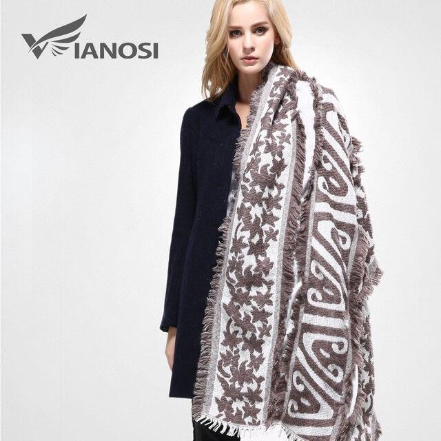 [VIANOSI]  Women's Cozy Tartan Blanket Scarf Wrap Shawl Neck Stole Warm Brand Soft Cotton Scarves Woman VA083