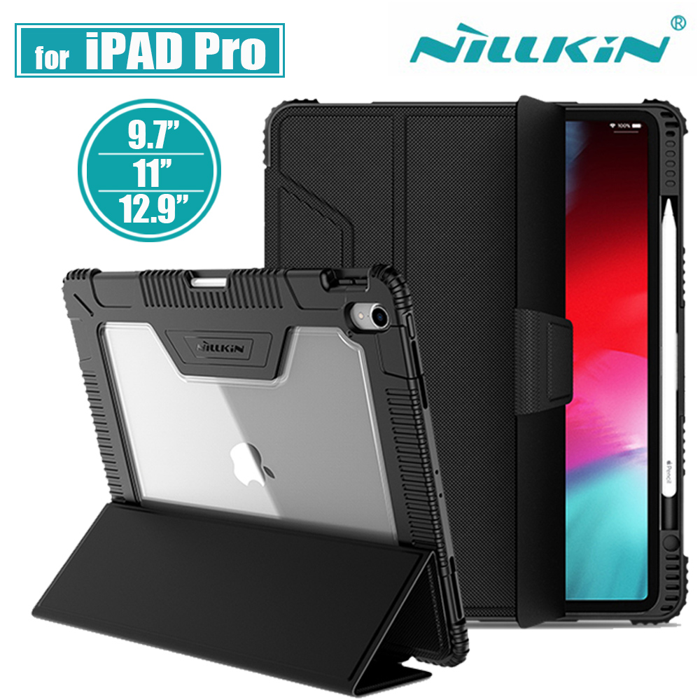 Nillkin for iPad Pro 11 Case for iPad Pro 12.9 2018 Shockproof TPU Soft Slim PU Leather Smart Wake/Sleep Cover For iPad 9.7 2017