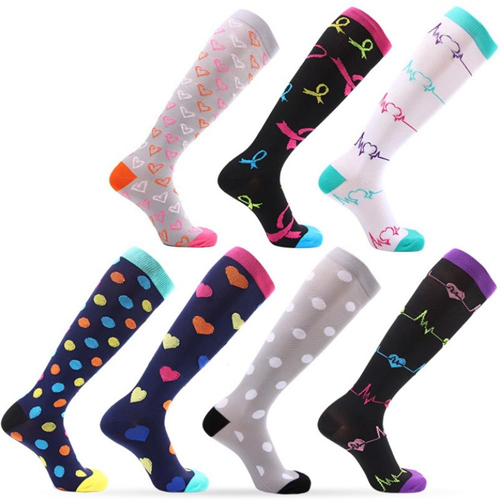 1pair Women Girls Multi-color Long Thigh High Socks Compression Stretch Socks Outdoor Funny Elastic Nursing Calf  Overknee Socks
