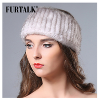 2015 New Hand Knitted Natural Mink Fur Headband Fur Cap Hat