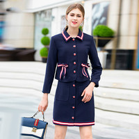 Skirt Suits Office Lady 2018 Autumn New Women's Brief Fashion Bow Single Breasted Jacket + Short Skirt Two Piece Sets Female