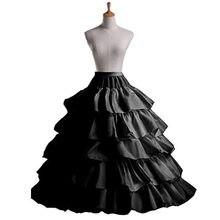 7a683f4d96e 4 cerceaux 5 couches robe de bal jupons noir jupon Crinoline sous-jupe gros  volants accessoires de mariage Tulle sous-jupes