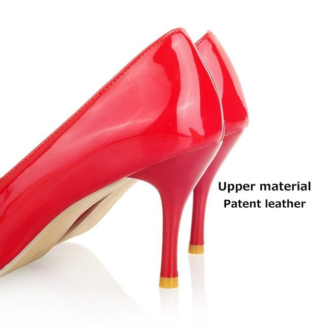 Women Nude Color Patent Leather Pumps 2016 spring Fashion Pointed Toe High Thin Heels Stilettos Slip On Party Shoes Plus Size 43