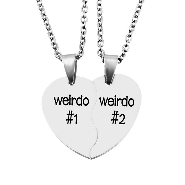 Lasperal 1pc stainless steel half heart pendant neckalce carved lasperal 1pc stainless steel half heart pendant neckalce carved letters silver color high quality necklaces jewelry aloadofball Choice Image