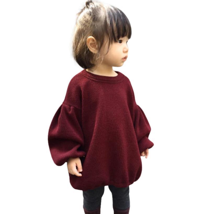 Sweater 2017 Toddler Infant Baby Kids Girls Solid Lantern Sleeve Shirt Tops D50 drop shoulder lantern sleeve solid tee