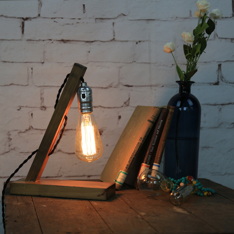 American Loft Vintage Industrial Wood Table Light Edison Desk Lamp E27 Cafe Bar Coffee Shop Reading