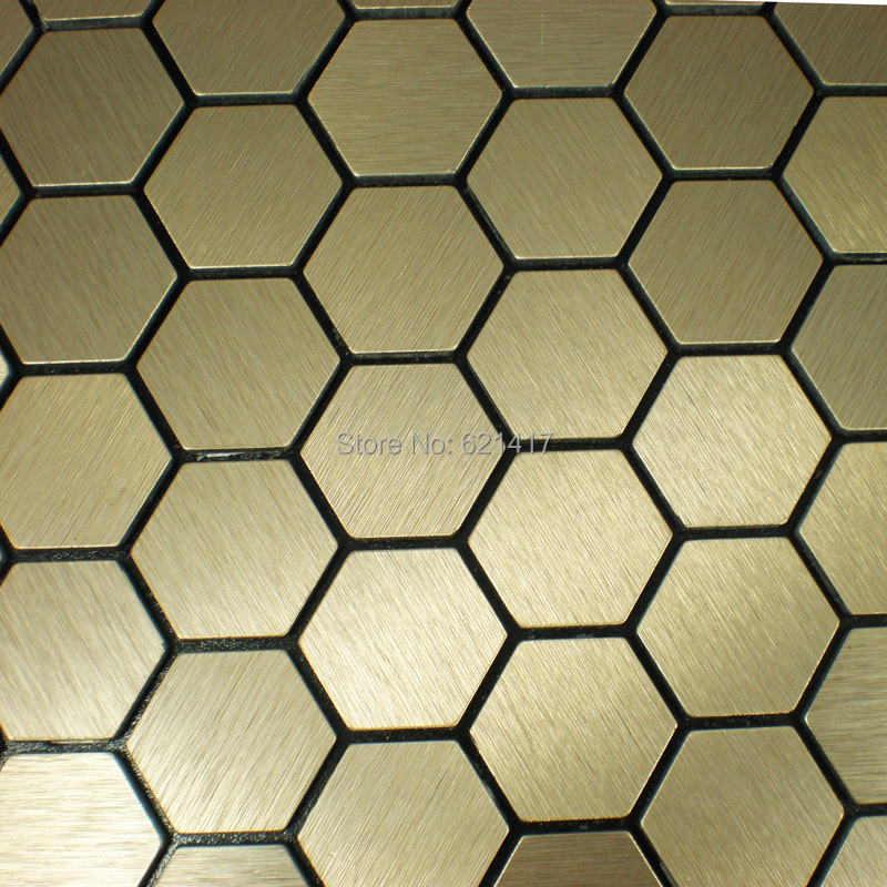 Hexagon Aluminum Plate Adhesive Self Adhesive Mosaic Tiles For Kitchen  Backsplash Decoration Tiles HMSM1013 In Wall Stickers From Home U0026 Garden On  ...