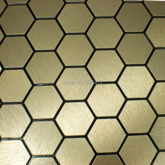 Hexagon Aluminum Plate Adhesive Self Adhesive Mosaic Tiles For Kitchen  Backsplash Decoration Tiles HMSM1013