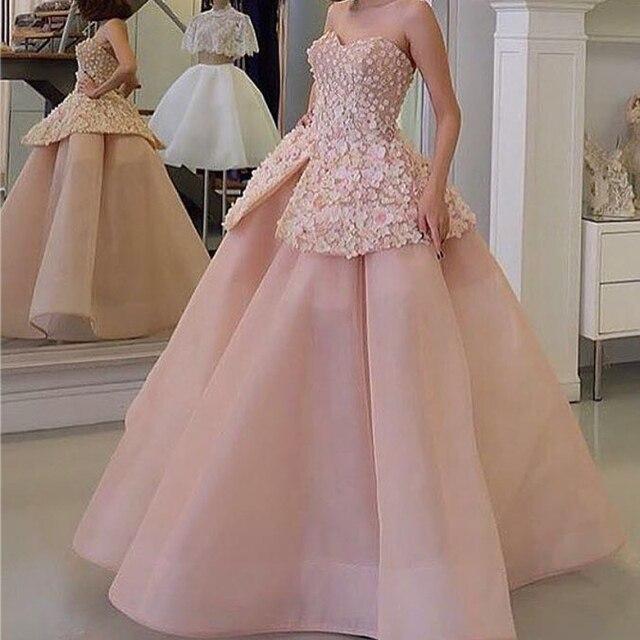 e32858b85bc Очаровательный Саудовской Аравии Вечернее Платье С Длинным С Плеча Розовые  Румяна цветы Бальное платье Арабский Халат