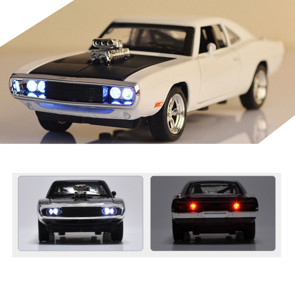 Hot <font><b>1:32</b></font> <font><b>car</b></font> Charger Diecast Metal <font><b>Model</b></font> <font><b>Car</b></font> Sound and Light Pull-back Vehicle Toy for boy children and kids gift 4 colors image