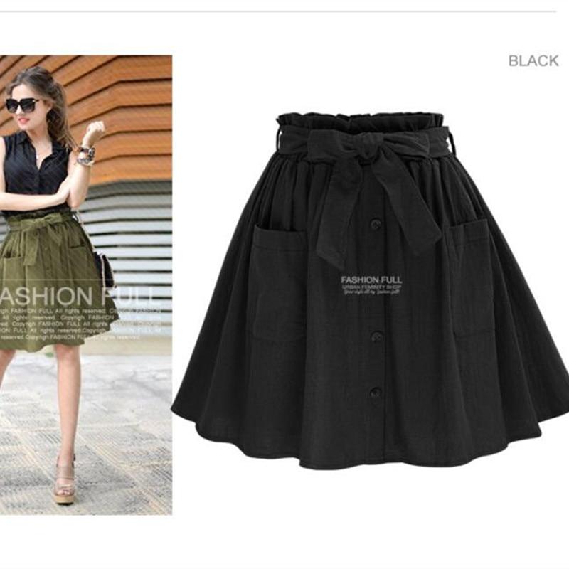 Hzirip wanita rok vintage pinggang tinggi saku padat busur sabuk midi - Pakaian Wanita - Foto 5