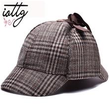 832283c1eaa1b IOTTG High Quality Cosplay Cap Detective Sherlock Holmes Deerstalker Hat  Gray Cups New Berets Cap Vestidos