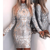 Missord 2018 Sexy High Neck Long Sleeve Sequin Elegant Party Dress FT8793