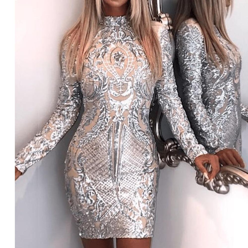 Missord 2019 пикантные высокие средства ухода за кожей шеи с длинным рукавом блесток элегантные вечерние блестящее платье FT8793