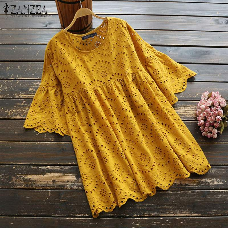 2019 ZANZEA Summer Hollow Out Blouse Women Ruffles Sleeve Shirt Robe Vintage Embroidered Tunic Tops Femme Solid Chemise Blusas