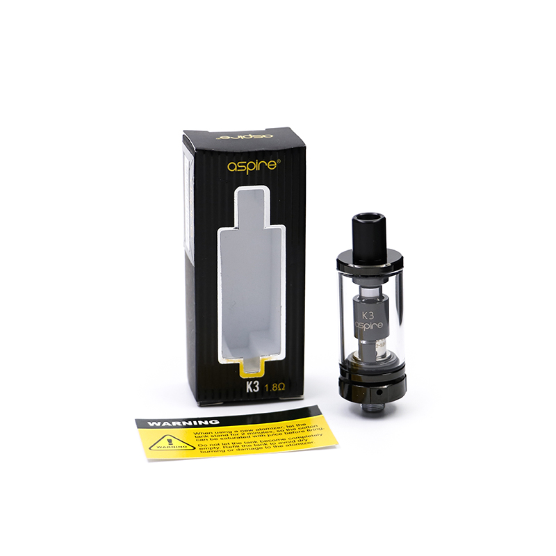 Aspire K3 Tank Clearomizer 1.8 ohm resistance 2ml capacity available in silver and black color for Aspire Battery Vape