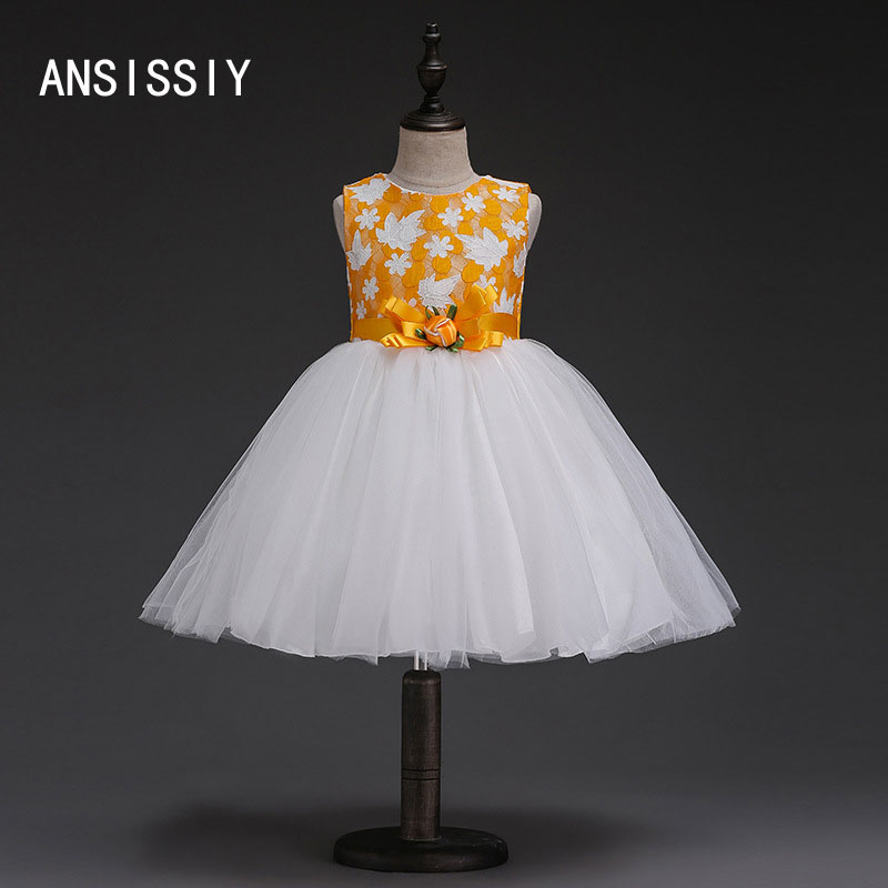 Girls Wedding Flower Dresses Summer Kids Evening Party Rose Floral Girls Clothing Lace Children Party Show Princess Vestidos new year flowers flower dresses for wedding party baby girls christmas party princess clothing children summer dresses